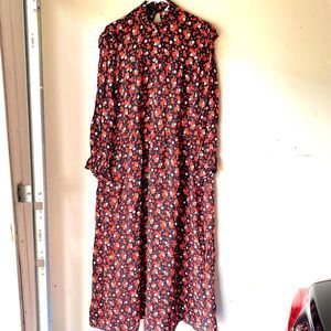 Zara floral maxi dress black red l ref 7563/268